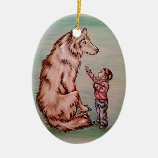 Cartoon Child with Wolf Drawing Ceramic Ornament