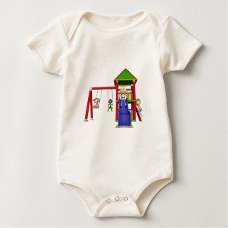 Cartoon Children at a Playground Baby Bodysuit