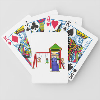 Cartoon Children at a Playground Bicycle Playing Cards