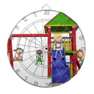 Cartoon Children at a Playground Dartboard