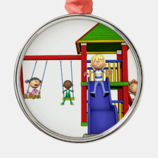Cartoon Children at a Playground Metal Ornament
