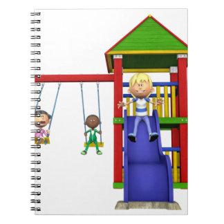 Cartoon Children at a Playground Spiral Notebook