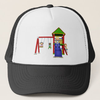 Cartoon Children at a Playground Trucker Hat