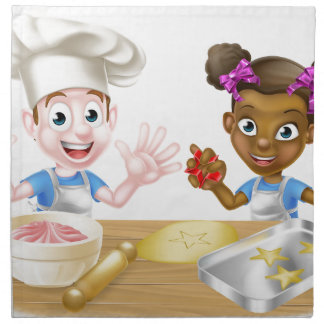 Cartoon Children Bakers Cooking Napkin
