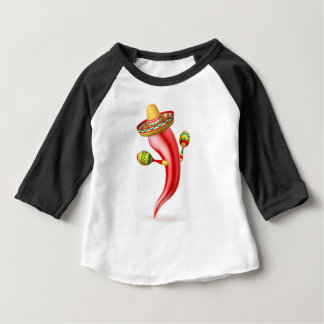 Cartoon Chilli Pepper with Maracas and Sombrero Baby T-Shirt