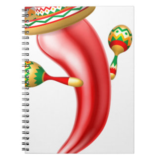 Cartoon Chilli Pepper with Maracas and Sombrero Notebook