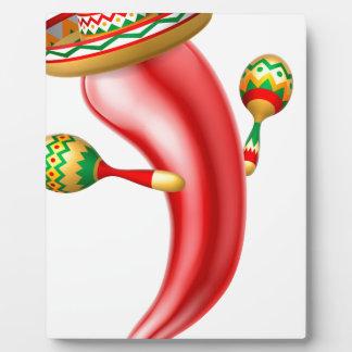 Cartoon Chilli Pepper with Maracas and Sombrero Plaque