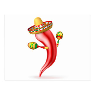 Cartoon Chilli Pepper with Maracas and Sombrero Postcard