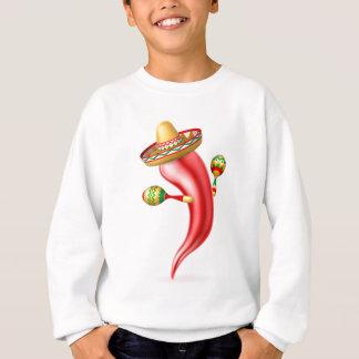 Cartoon Chilli Pepper with Maracas and Sombrero Sweatshirt