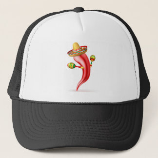 Cartoon Chilli Pepper with Maracas and Sombrero Trucker Hat