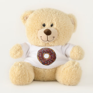 Cartoon Chocolate Donut With Sprinkles Teddy Bear