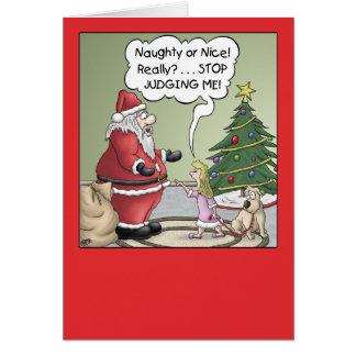 Cartoon Christmas Card: Stop Judging Greeting Card