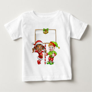 Cartoon Christmas Elves Holding Sign Baby T-Shirt