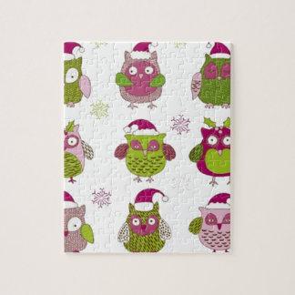 cartoon christmas owl cute vector jigsaw puzzle