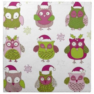 cartoon christmas owl cute vector napkin