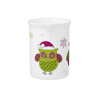 cartoon christmas owl cute vector pitcher