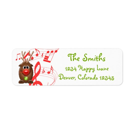Cartoon Christmas Reindeer Return Address Label