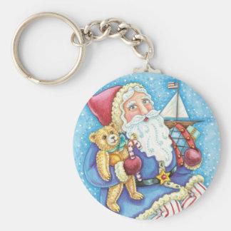 Cartoon Christmas, Santa Claus on Snowball w Toys Key Chains