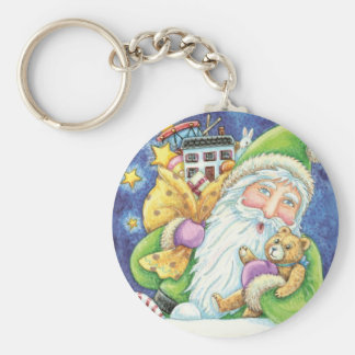 Cartoon Christmas Santa Claus, Toys Chimney Snow Key Chains