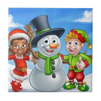 Cartoon Christmas Snowman and Elf Santas Helpers Ceramic Tile