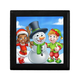 Cartoon Christmas Snowman and Elf Santas Helpers Gift Box