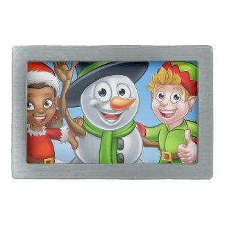 Cartoon Christmas Snowman and Elf Santas Helpers Rectangular Belt Buckle