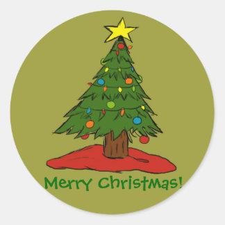 Cartoon Christmas Tree Holiday Stickers Seals