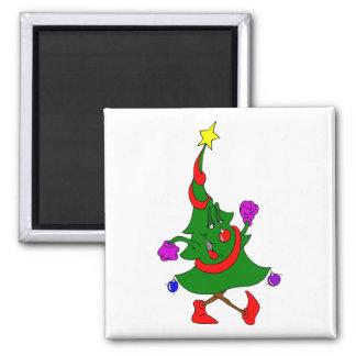 Cartoon Christmas Tree Walking Fridge Magnet