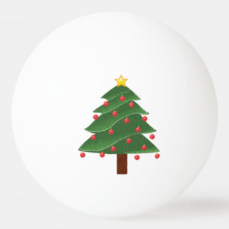 Cartoon Christmas Tree with Ornaments Drawing Ping Pong Ball
