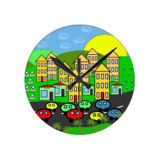 Cartoon City Round Clock