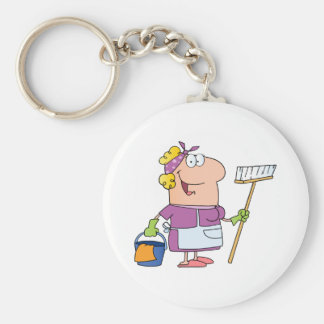 Cartoon Cleaning Lady Key Chain