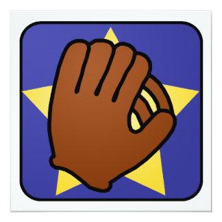 Cartoon Clip Art Baseball Glove Star Boy Birthday 13 Cm X 13 Cm Square Invitation Card