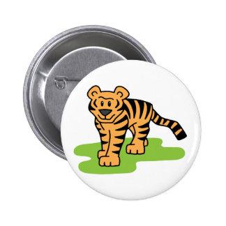 Cartoon Clip Art Bengal Tiger Big Cat with Stripes Pin