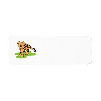 Cartoon Clip Art Bengal Tiger Big Cat with Stripes Return Address Label