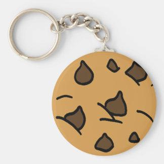 Cartoon Clip Art Chocolate Chip Cookie Dessert Basic Round Button Key Ring