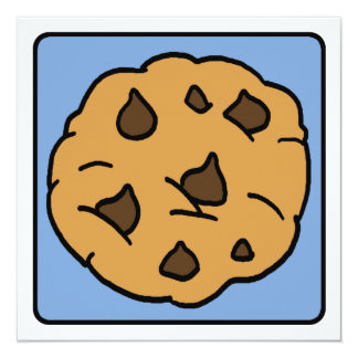 Cartoon Clip Art Chocolate Chip Cookie Dessert Custom Invites