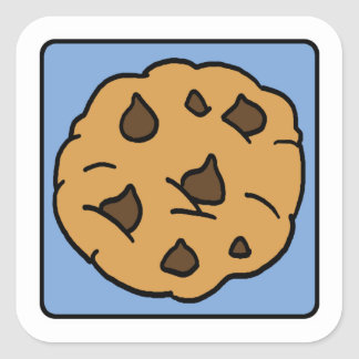 Cartoon Clip Art Chocolate Chip Cookie Dessert Square Sticker