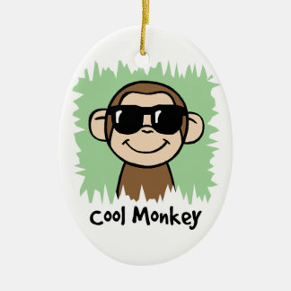 Cartoon Clip Art Cool Monkey with Sunglasses Ceramic Oval Decoration