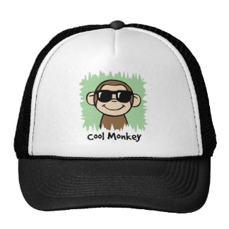 Cartoon Clip Art Cool Monkey with Sunglasses Trucker Hats