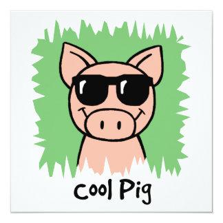 Cartoon Clip Art Cool Pig Sunglasses Boy Birthday 13 Cm X 13 Cm Square Invitation Card