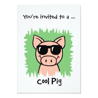 Cartoon Clip Art Cool Pig Sunglasses Boy Birthday Personalized Invite