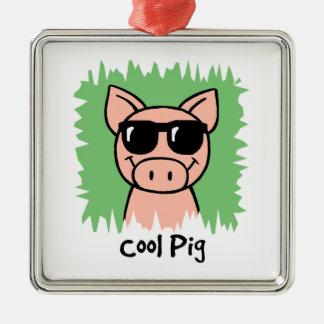 Cartoon Clip Art Cool Pig with Sunglasses Ornaments