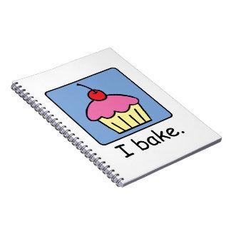Cartoon Clip Art Cupcake Dessert Pink Frosting Spiral Notebook