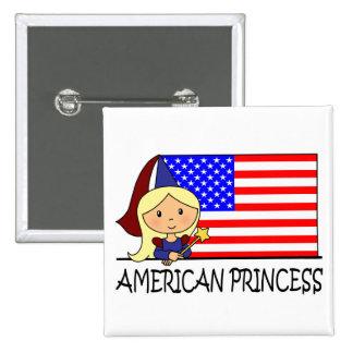 Cartoon Clip Art Cute American Princess Flag Button