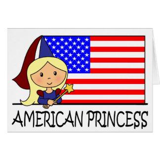 Cartoon Clip Art Cute American Princess Flag Stationery Note Card