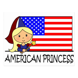 Cartoon Clip Art Cute American Princess Flag Post Card