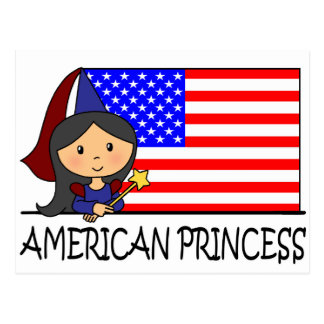 Cartoon Clip Art Cute American Princess Flag Postcard