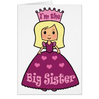 Cartoon Clip Art Cute Big Sister Princess Hearts Note Card