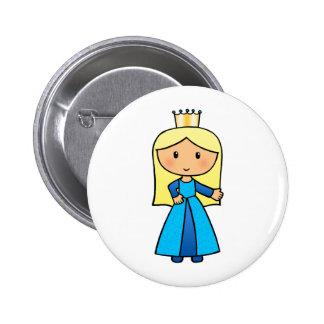 Cartoon Clip Art Cute Blond Princess in Blue Dress Button