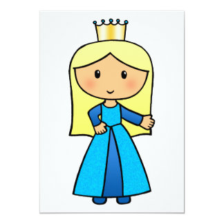 Cartoon Clip Art Cute Blond Princess in Blue Dress 13 Cm X 18 Cm Invitation Card